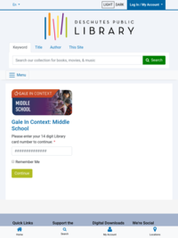 Library Database: Research in Context, Middle School