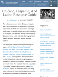 Chicano, Hispanic, and Latino Resource Guide, Denver Public Library