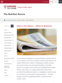 Diet in the News -- What to believe? | The Nutrition Source | Harvard T.H. Chan School of Public Health