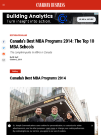 Canadian Business Schools: Rankings