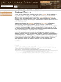 Shakman Decrees -- Encyclopedia of Chicago