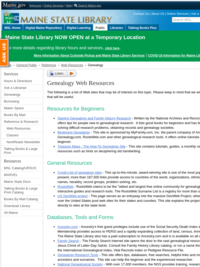 Maine State Library: Genealogy Web Resources