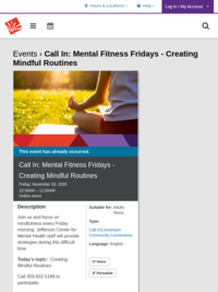 Call In: Mental Fitness Fridays - Creating Mindful Routines