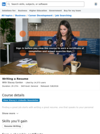 Writing a Resume | Lynda.com