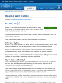 Kids Health: Dealing with Bullies