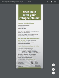 Help With Your Refugee Claim - English & French