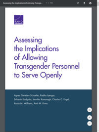 Assessing the Implications of Allowing Transgender Personnel to Serve Openly (2016)