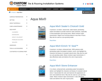Screenshot of http://www.custombuildingproducts.com/products/aqua-mix.aspx