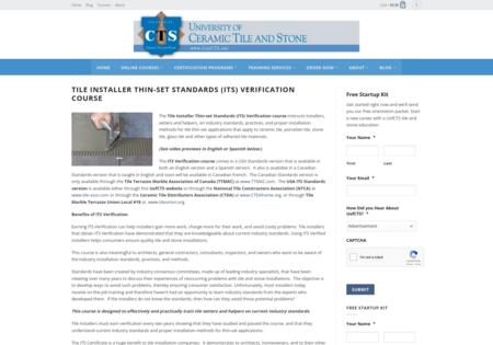 Tile Installer Thin-set Standards (ITS)  Verification Course