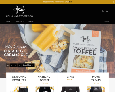Screenshot of http://www.holmmadetoffee.com/