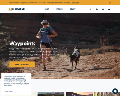 Screenshot of http://www.ruffwear.com/