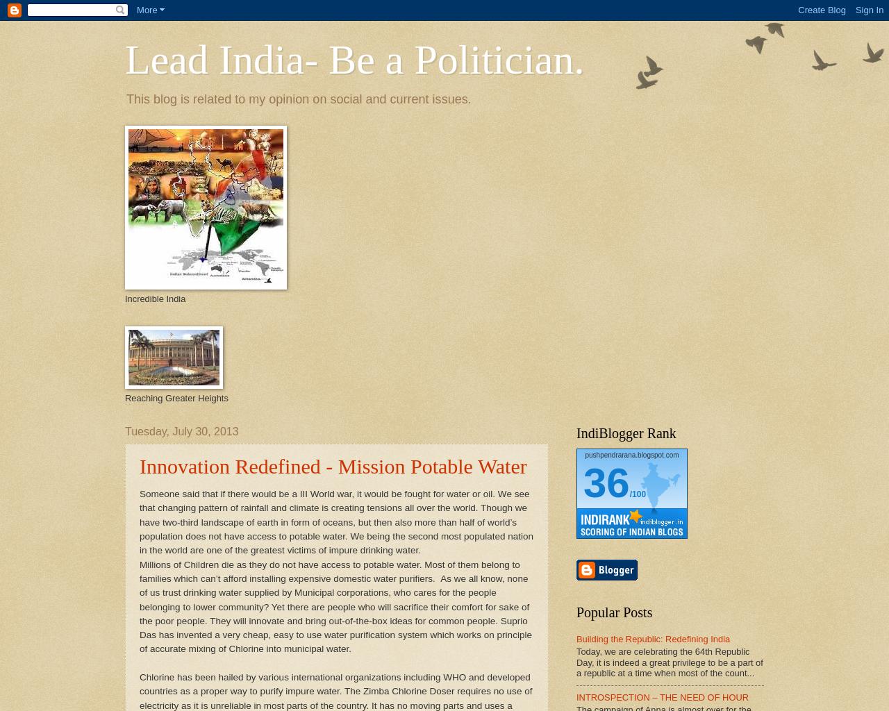 Lead India - Be a Politician