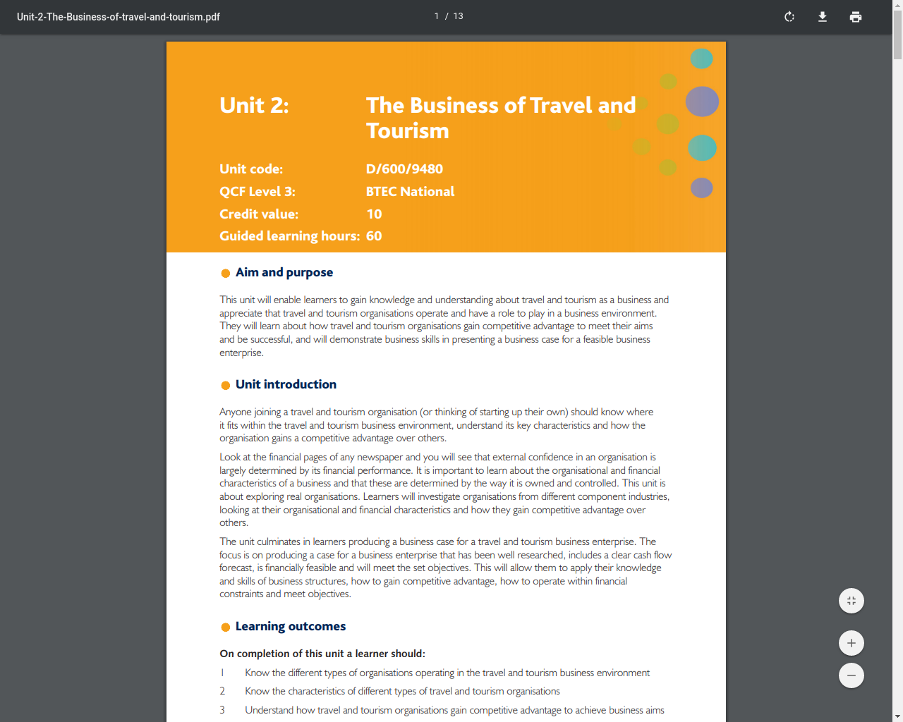 Unit 2 - The Business of Travel and Tourism