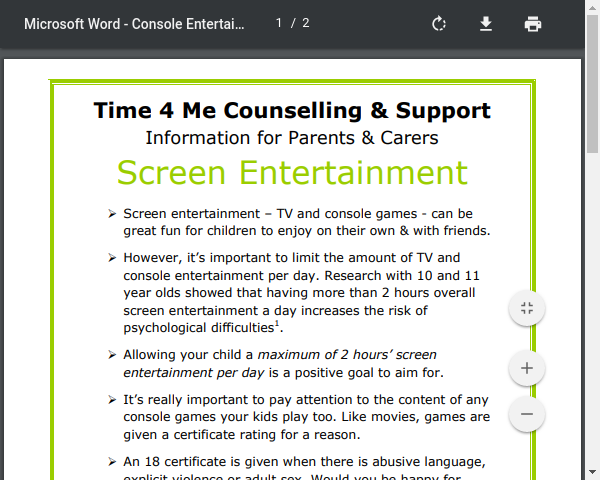 Time 4 Me Counselling and Support - Information for Parents and Carers