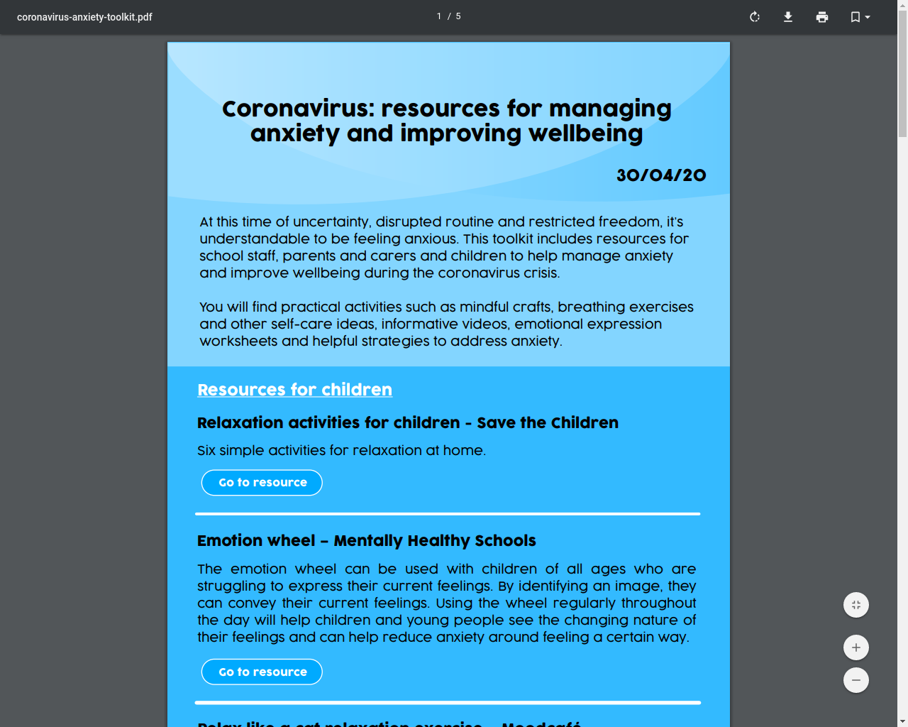 Resources for managing anxiety and improving wellbeing