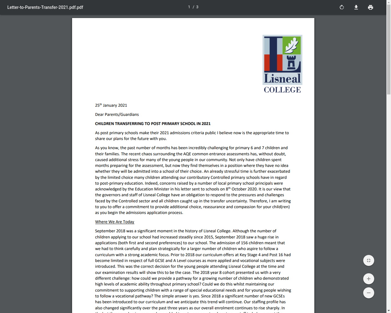 Lisneal College Letter to Parents Transferring to Post Primary School 2021