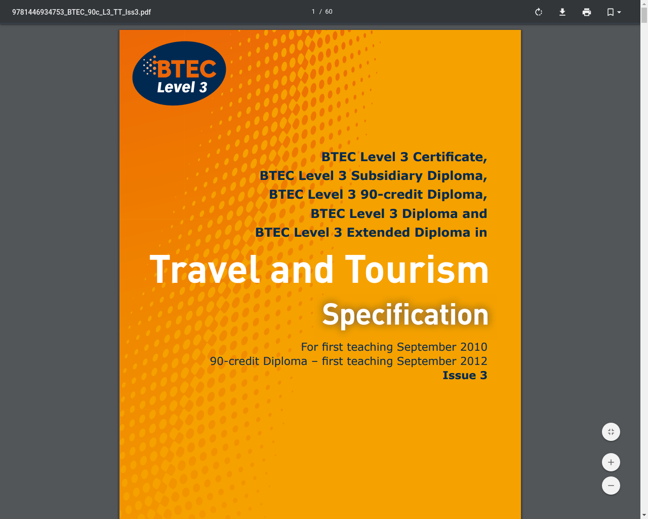 BTEC Level 3 Subsidiary Diploma in Travel and Tourism - Specification