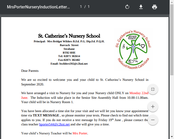 Mrs Porter Nursery Induction Letter 2020 Group A