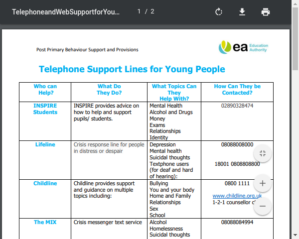 Telephone and Web Support for Young People