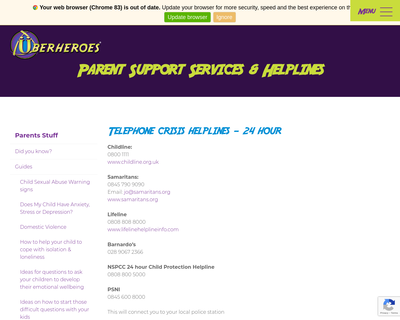 Parent Support Services & Helplines