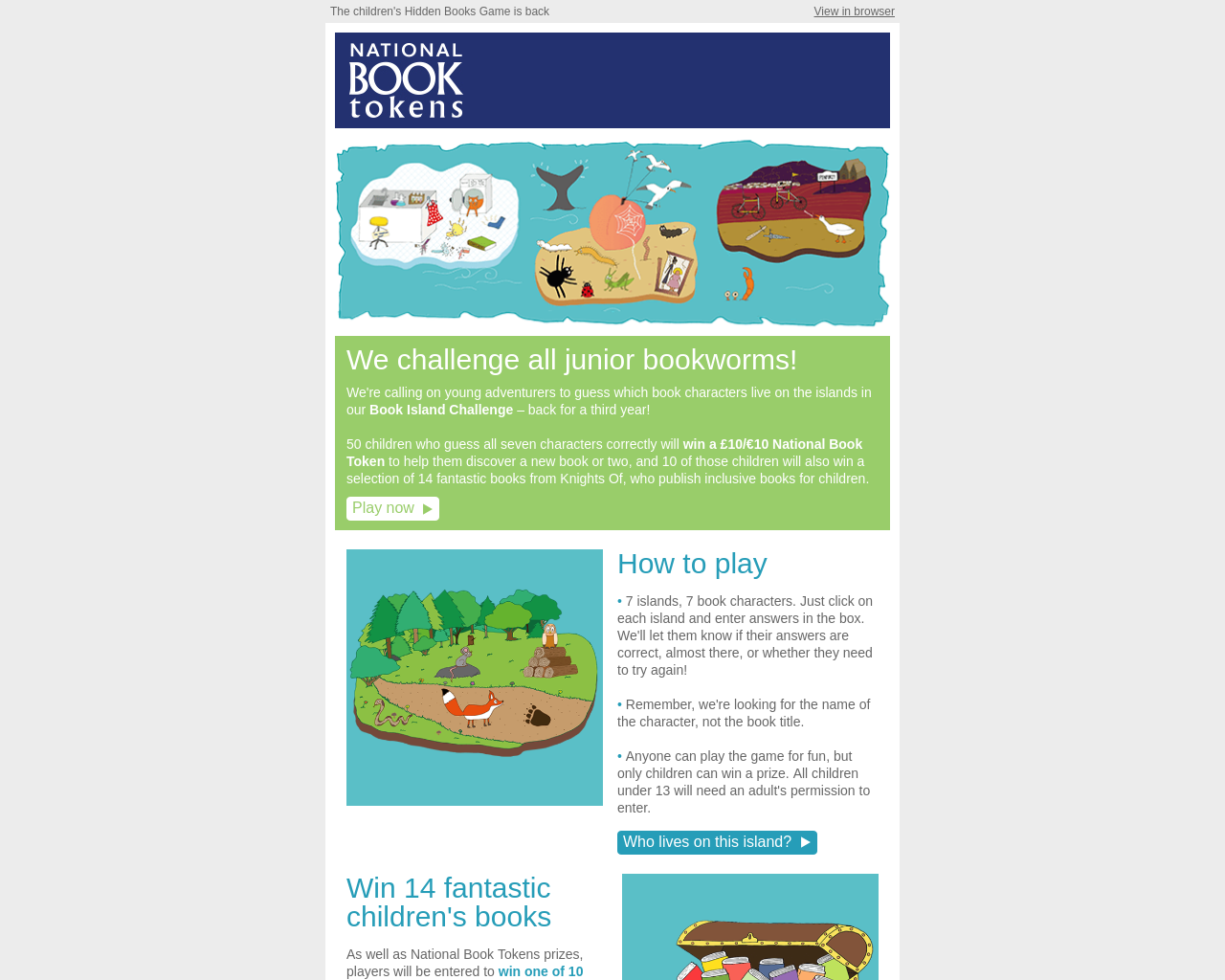 National Book Tokens Activity