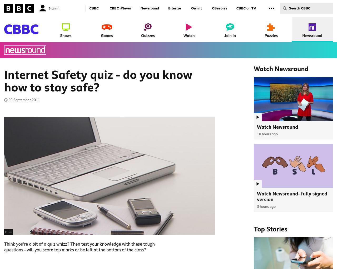 Newsround Quiz – Internet Security