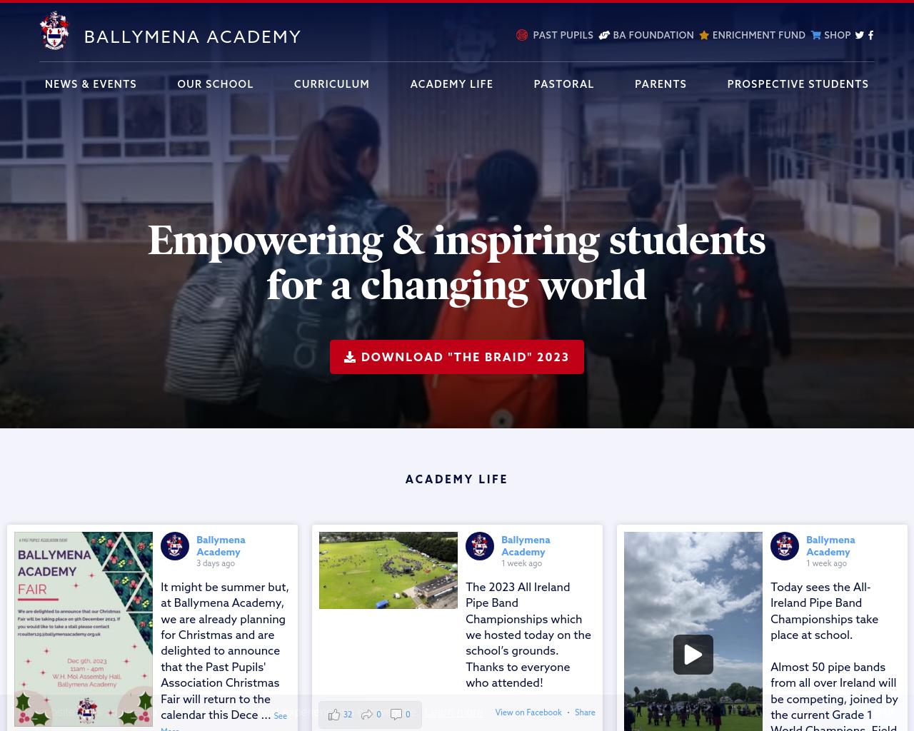 Ballymena Academy Website
