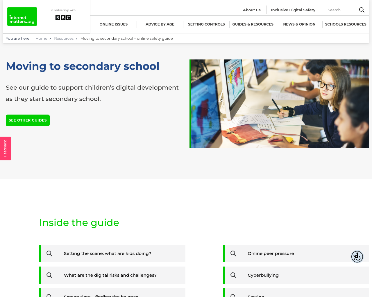 Moving to Secondary School, Online Safety