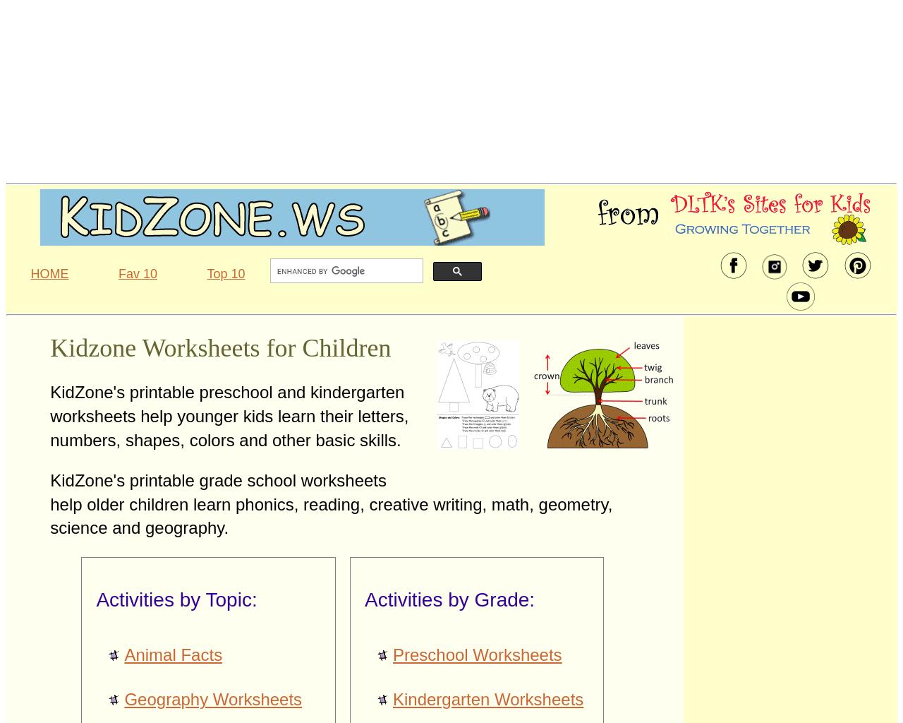 Kidzone Worksheets for Children