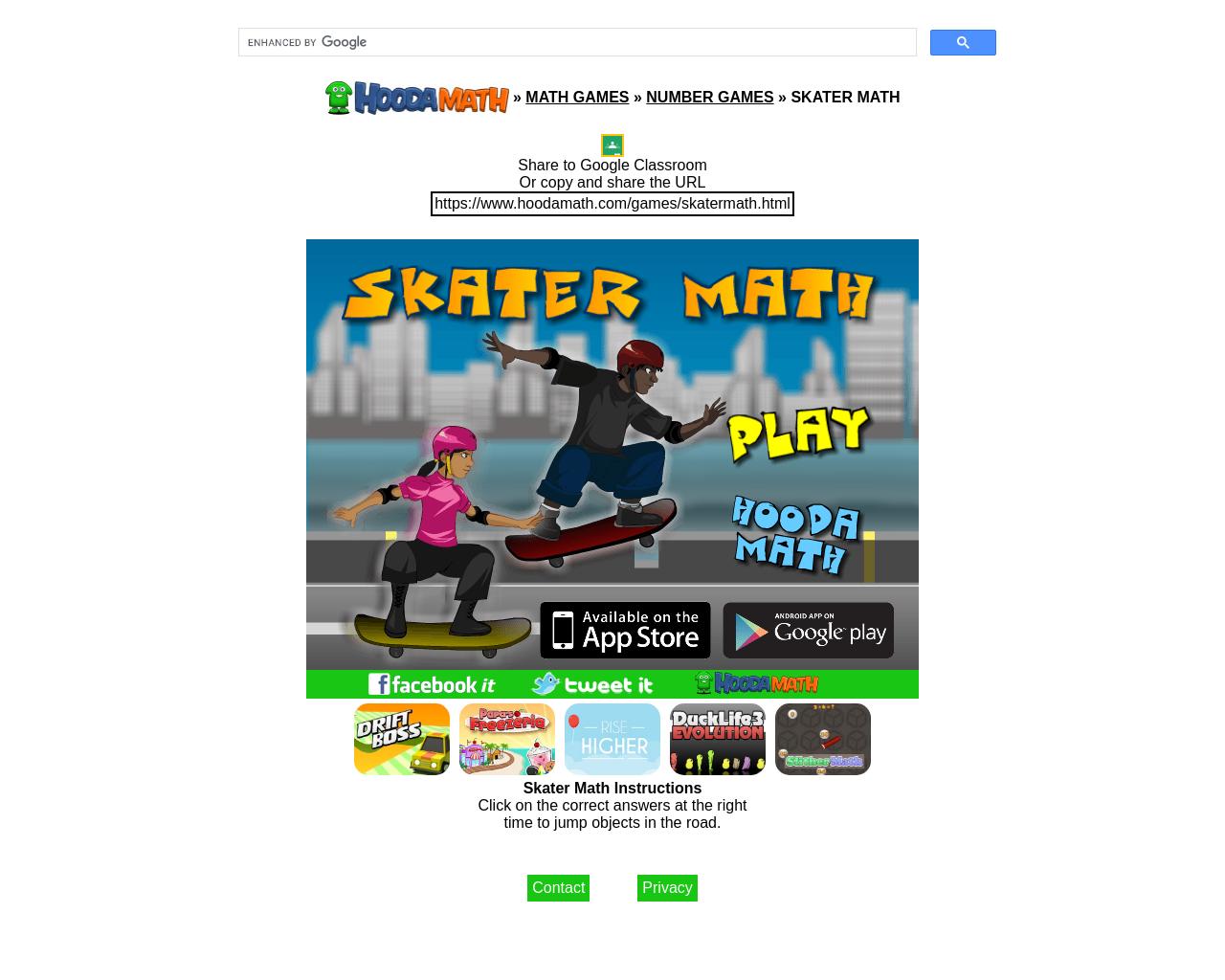 Skater Maths + - x