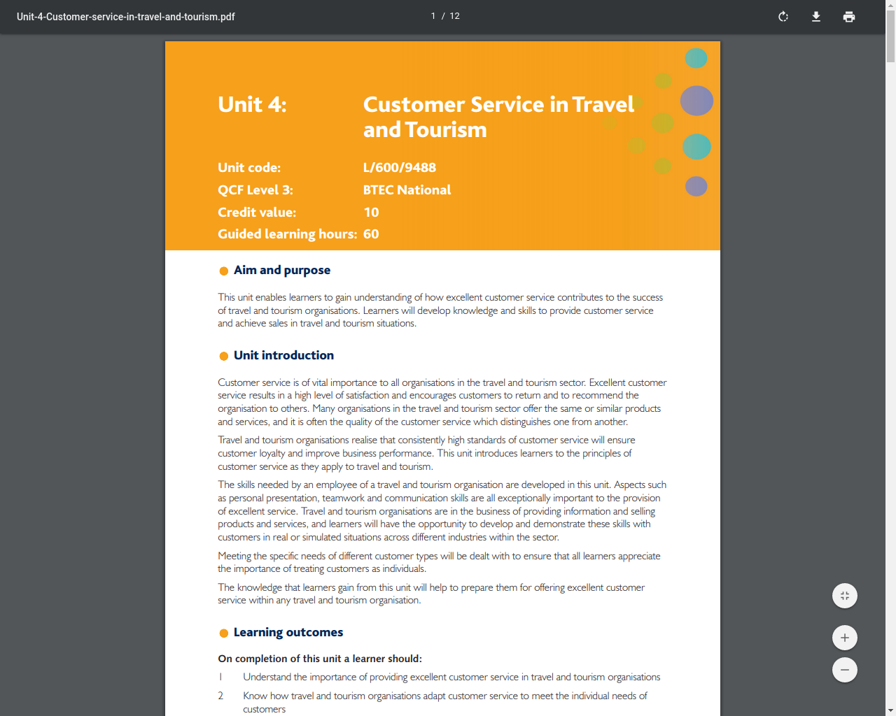 Unit 4 - Customer Service in Travel and Tourism