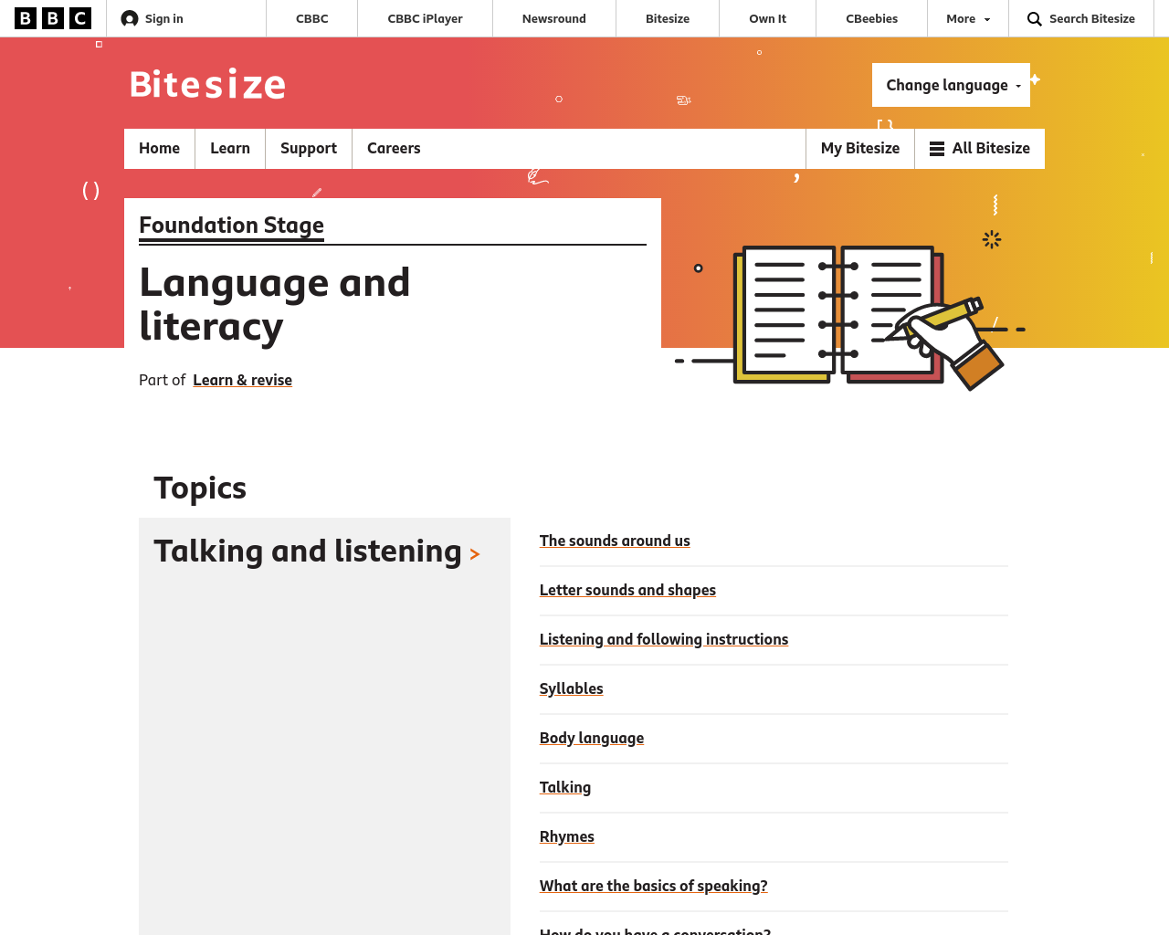 Foundation Stage Literacy (P1 and P2)