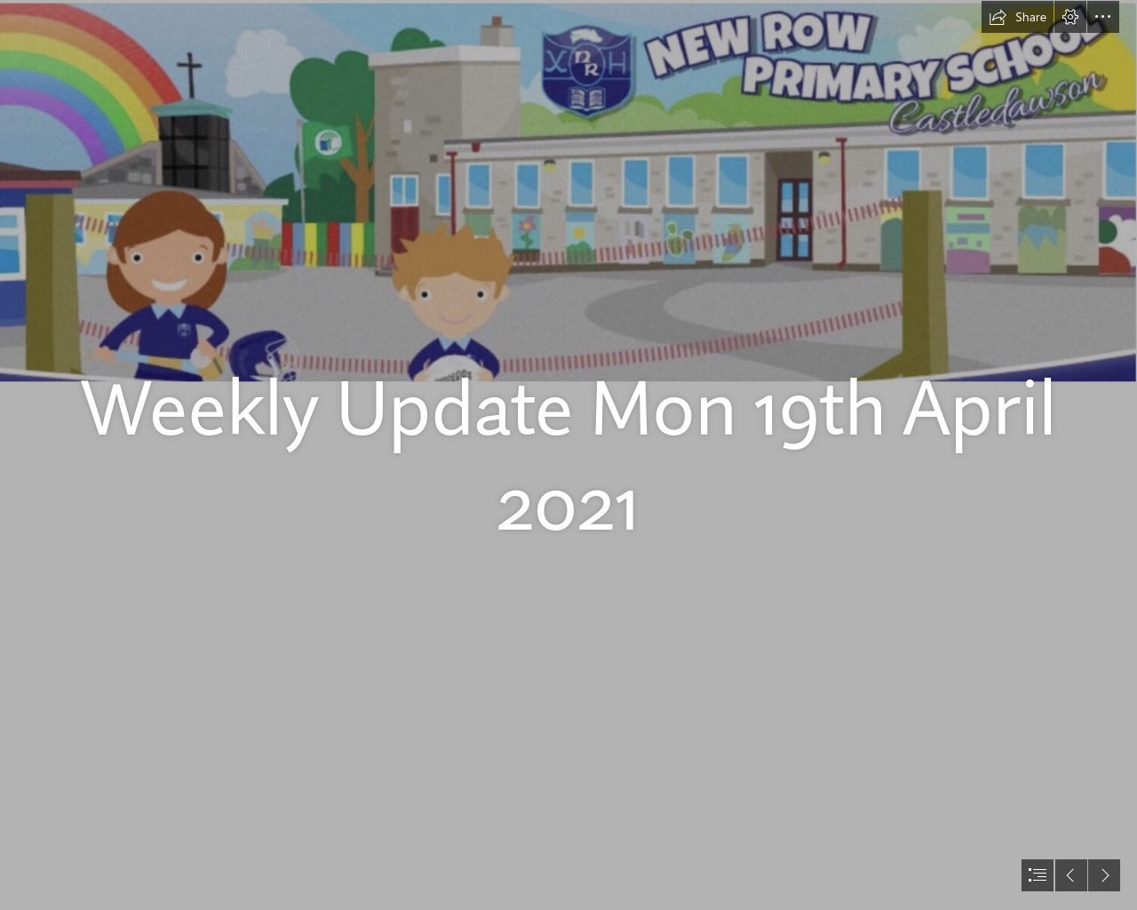 Weekly Update Mon 19th April 21