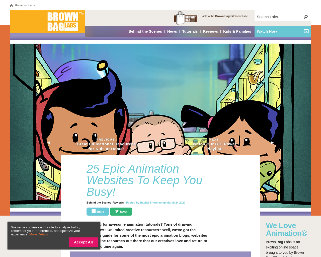 Animation websites from Brown Bag films