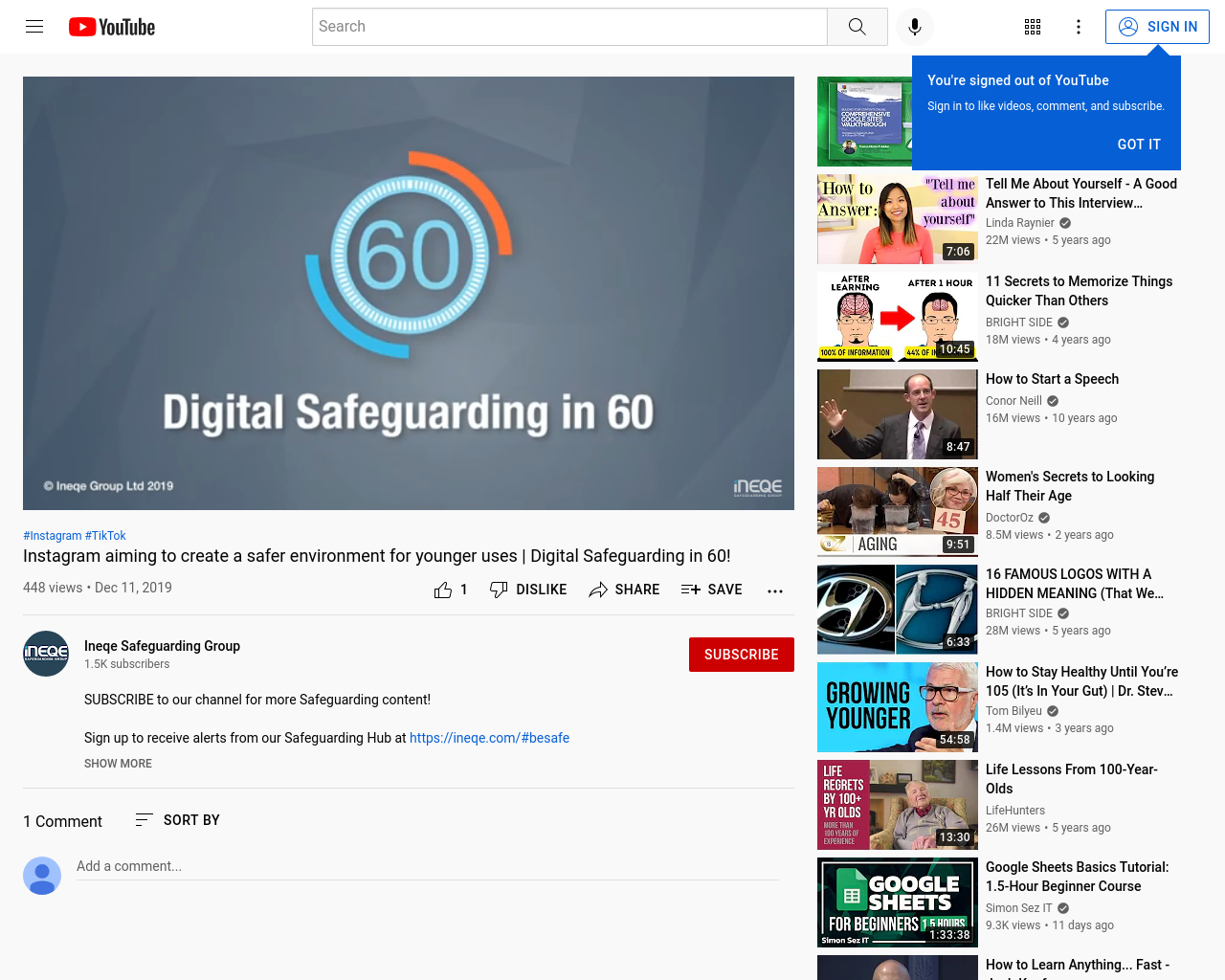Digital safeguarding video link