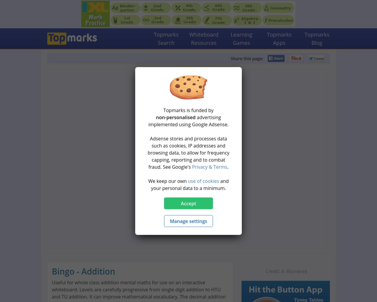TopMarks: Bingo Addition