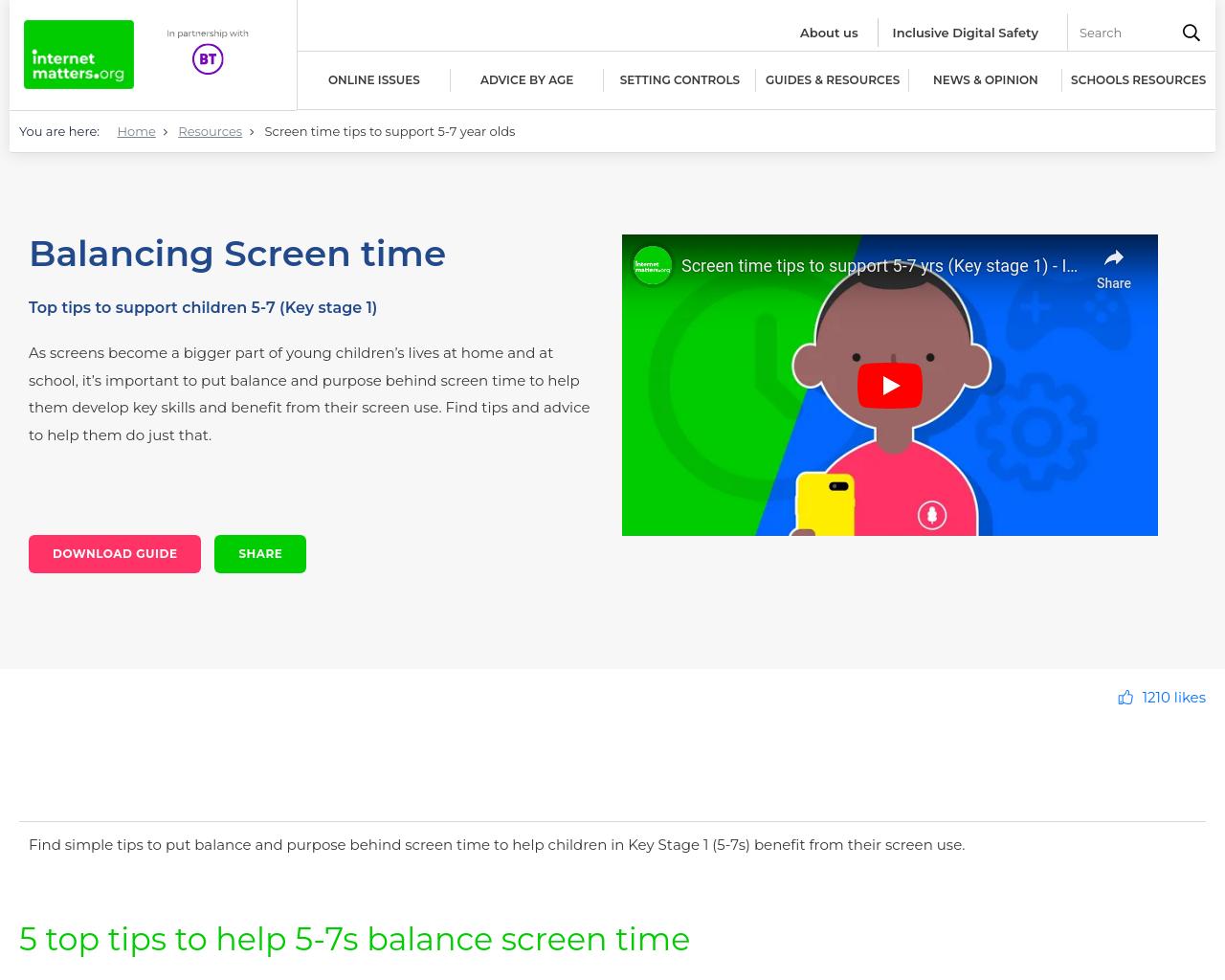Balancing Screen Time 5-7yr olds