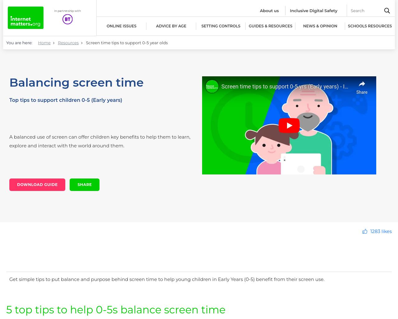 Balancing Screen Time 0-5yr olds