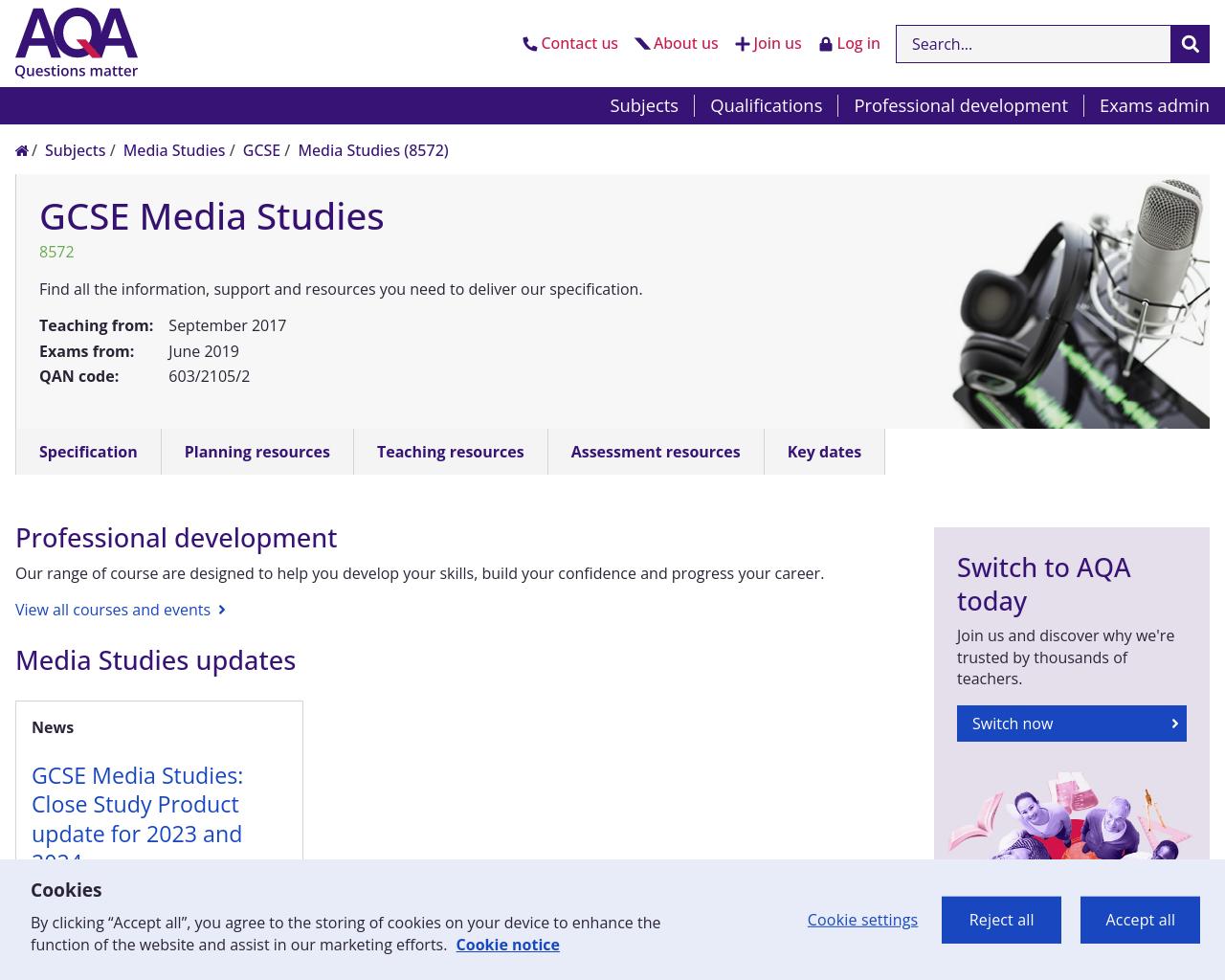 AQA GCSE Media Studies Specification