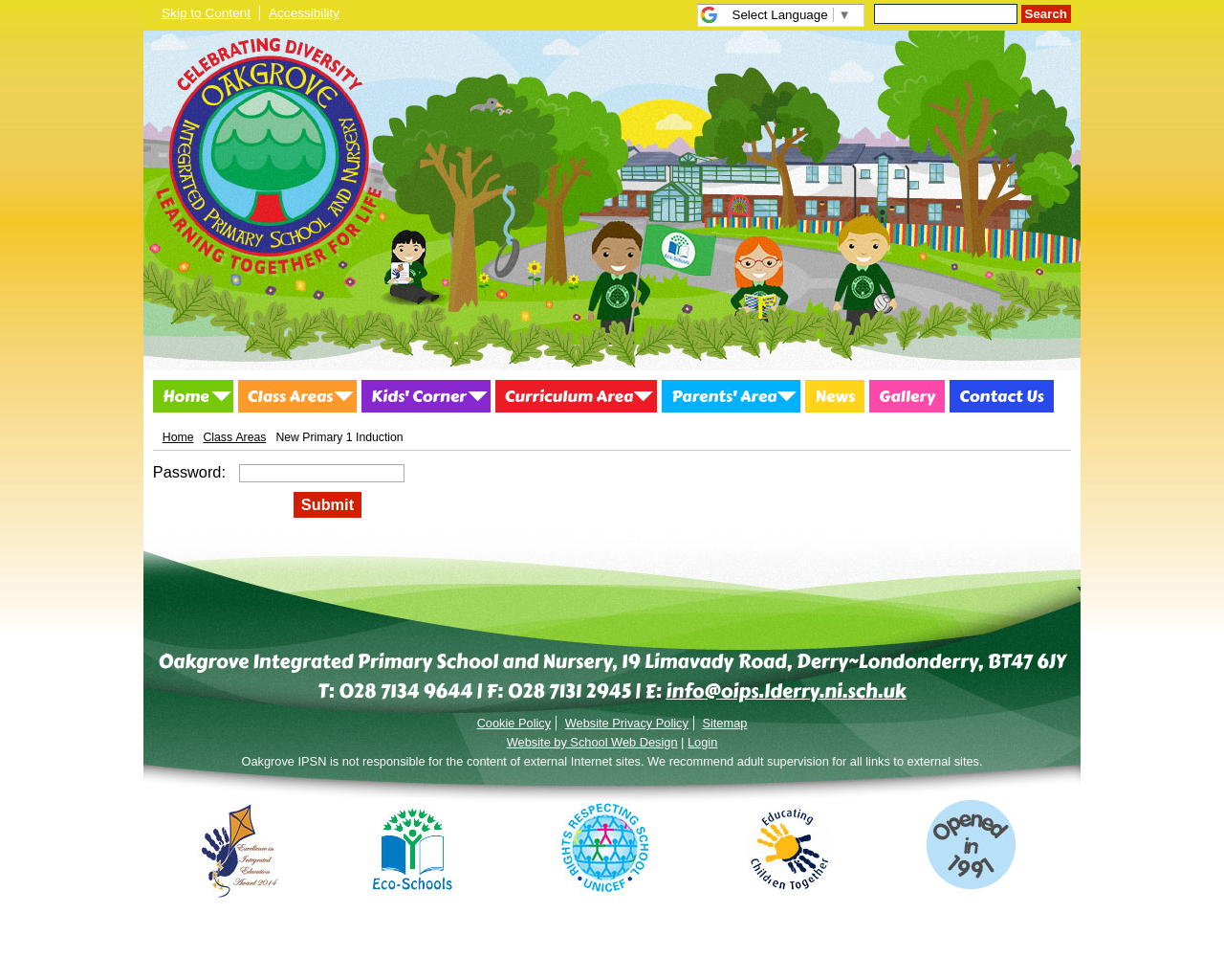 Primary 1 Induction Page