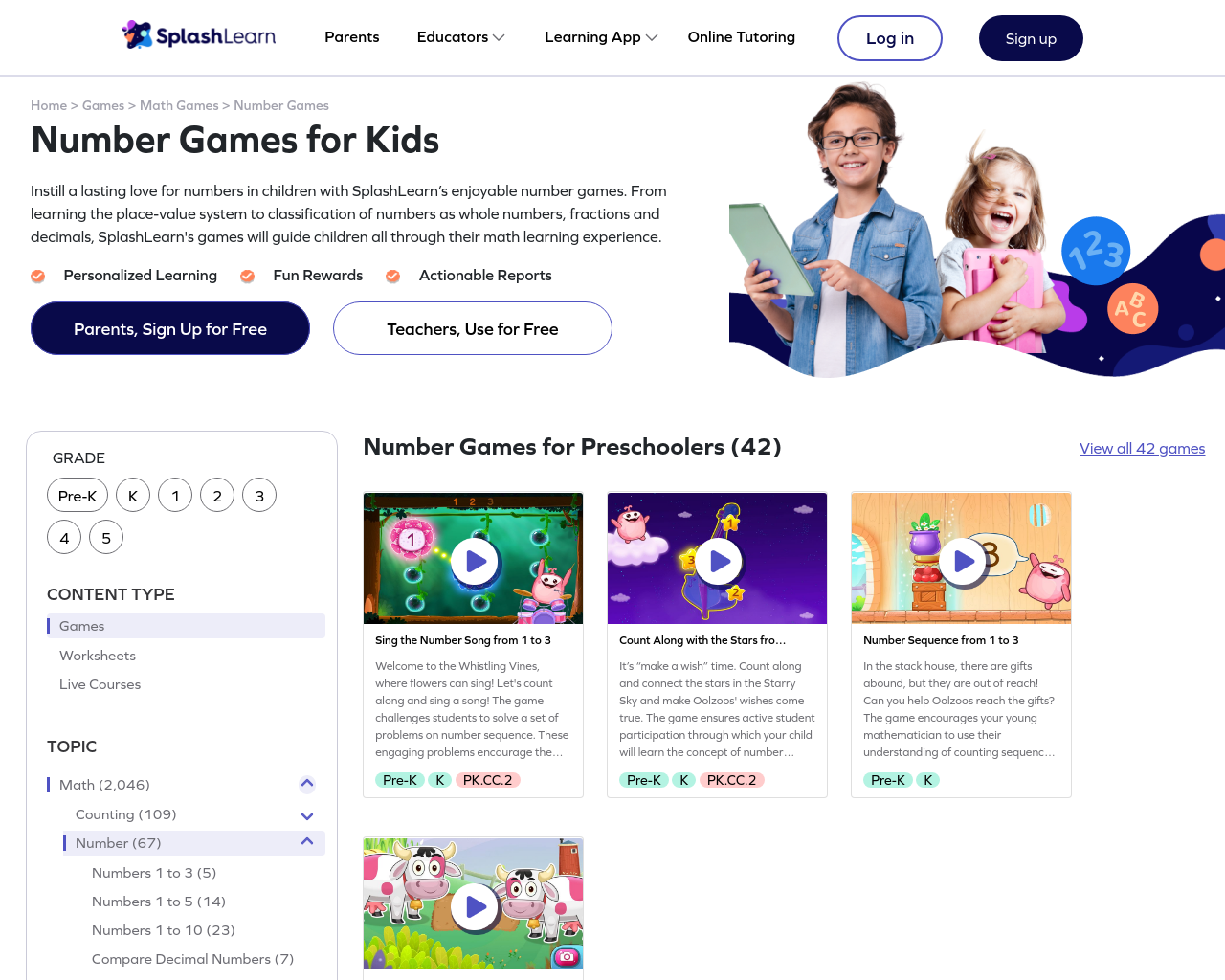 Splash Learn Number Games