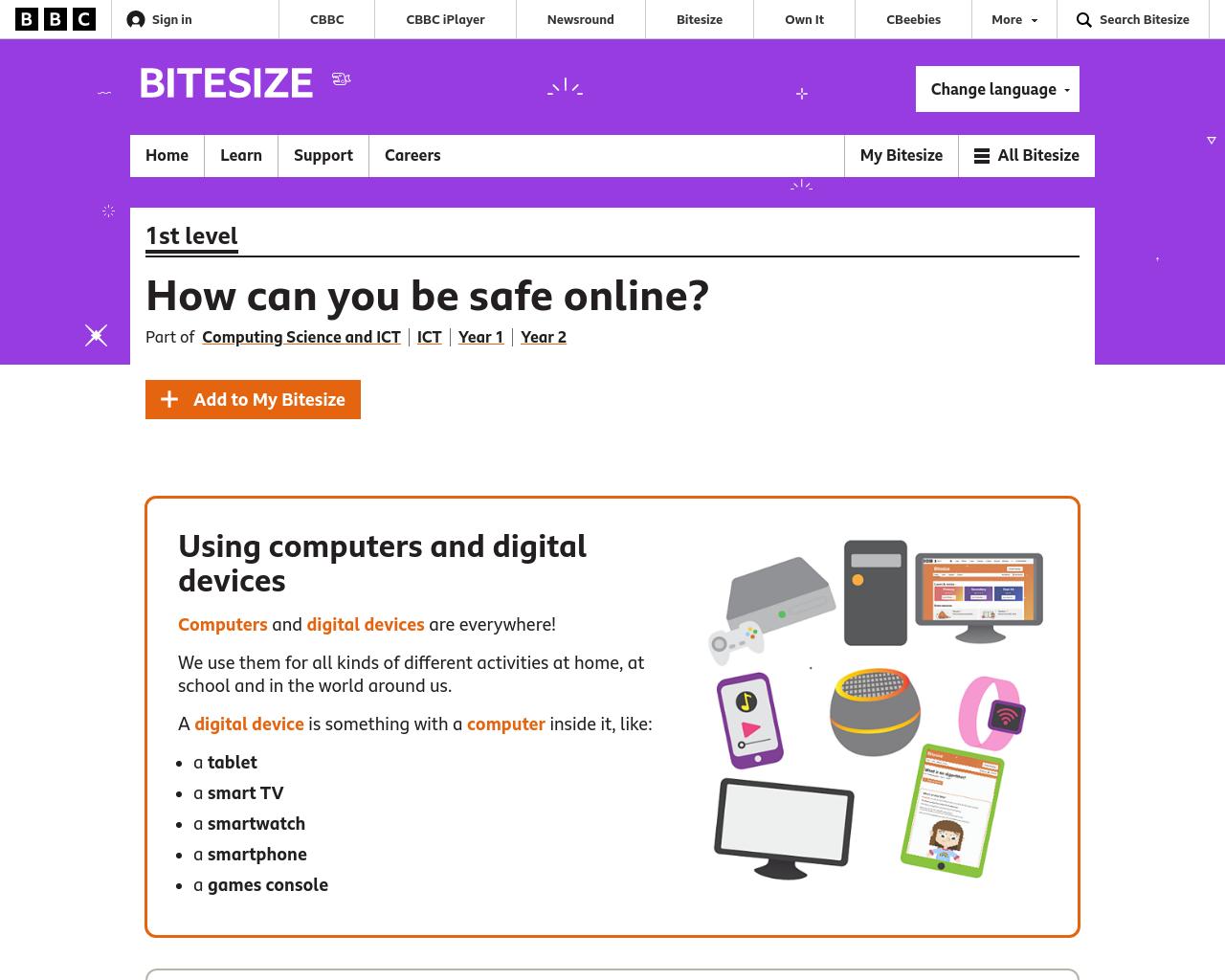 BBC Bitesize Safe Internet