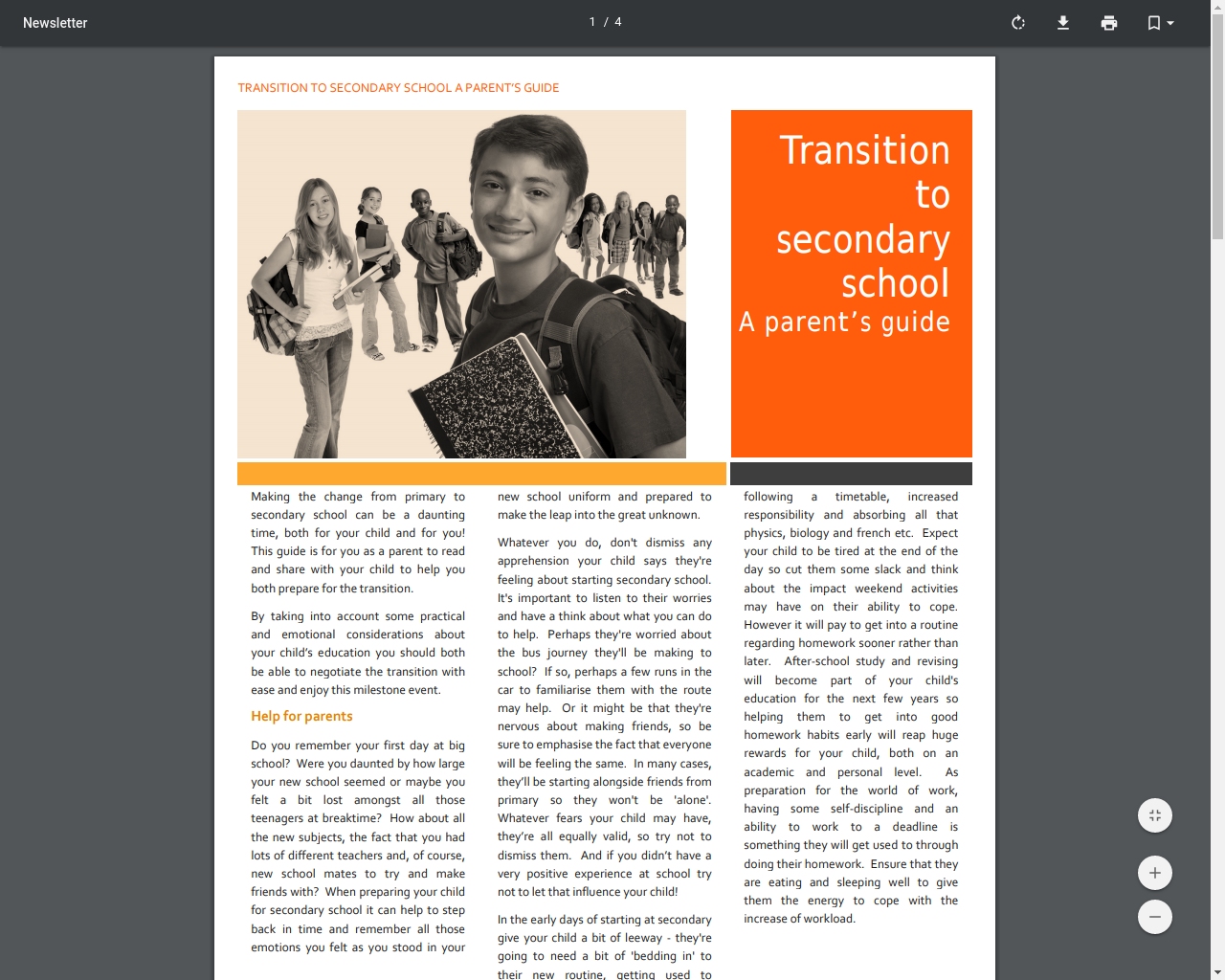 Parent's Guide for a transition to secondary school