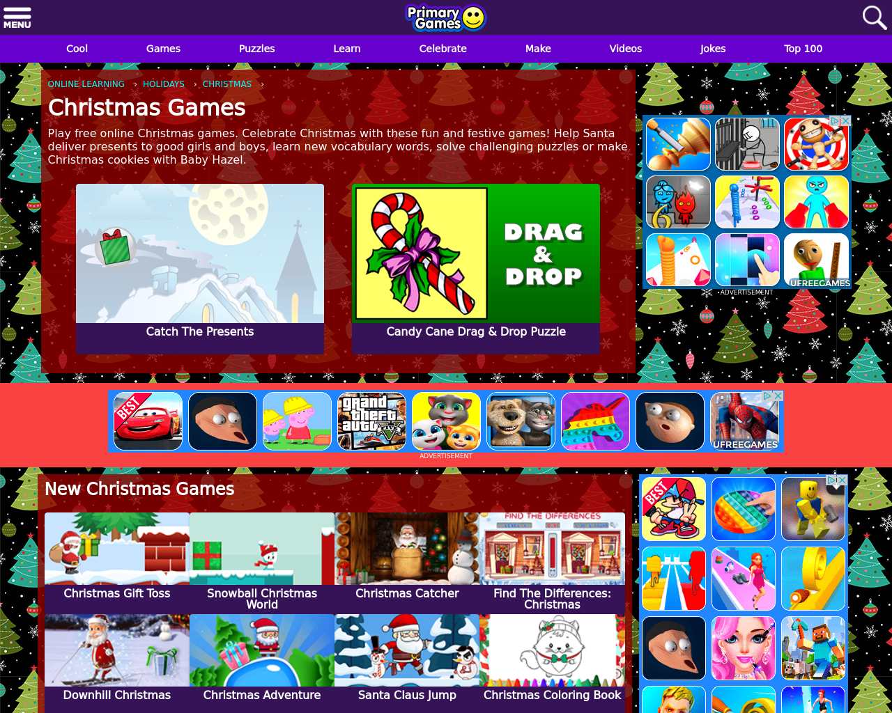 Christmas Games  (Primary Games)