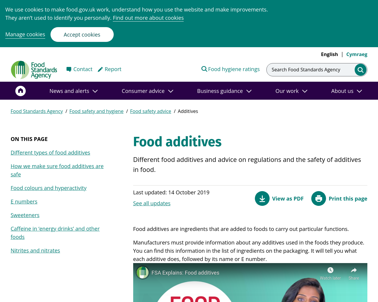 GCSE Food Additives video and information from the food standards agency