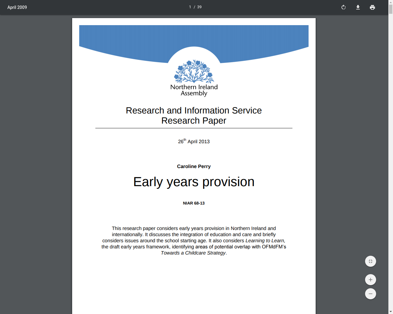 Northern Ireland Assembly - Early years provision