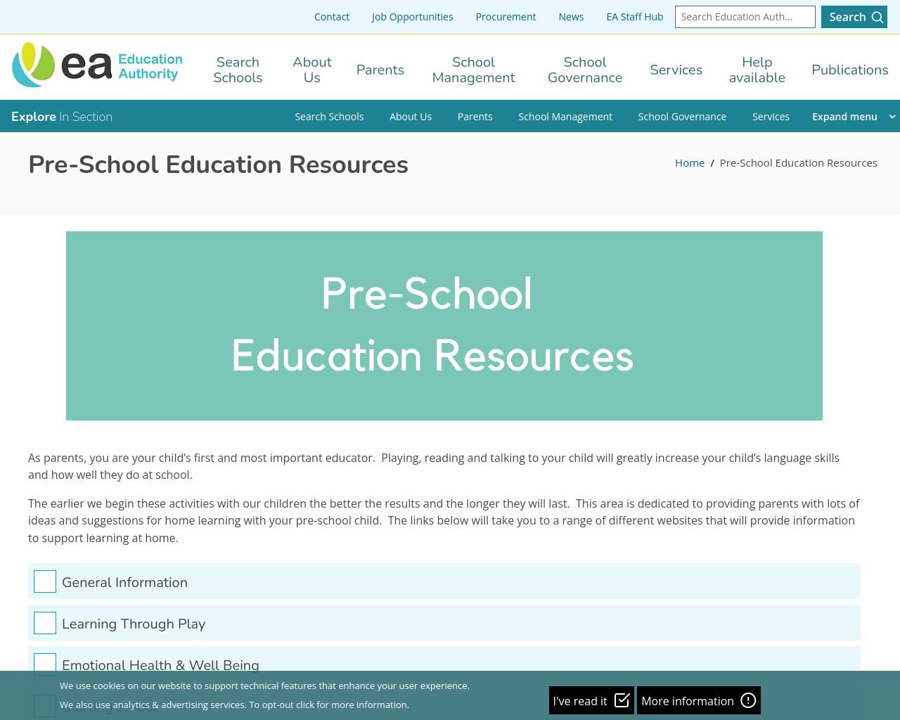 EA Pre-school Resources