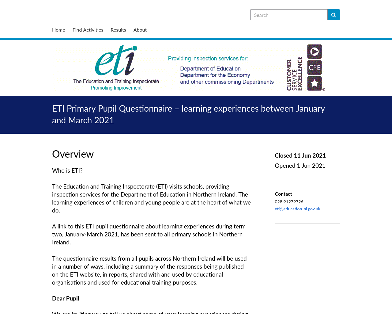ETI link for P6 and P7 pupils
