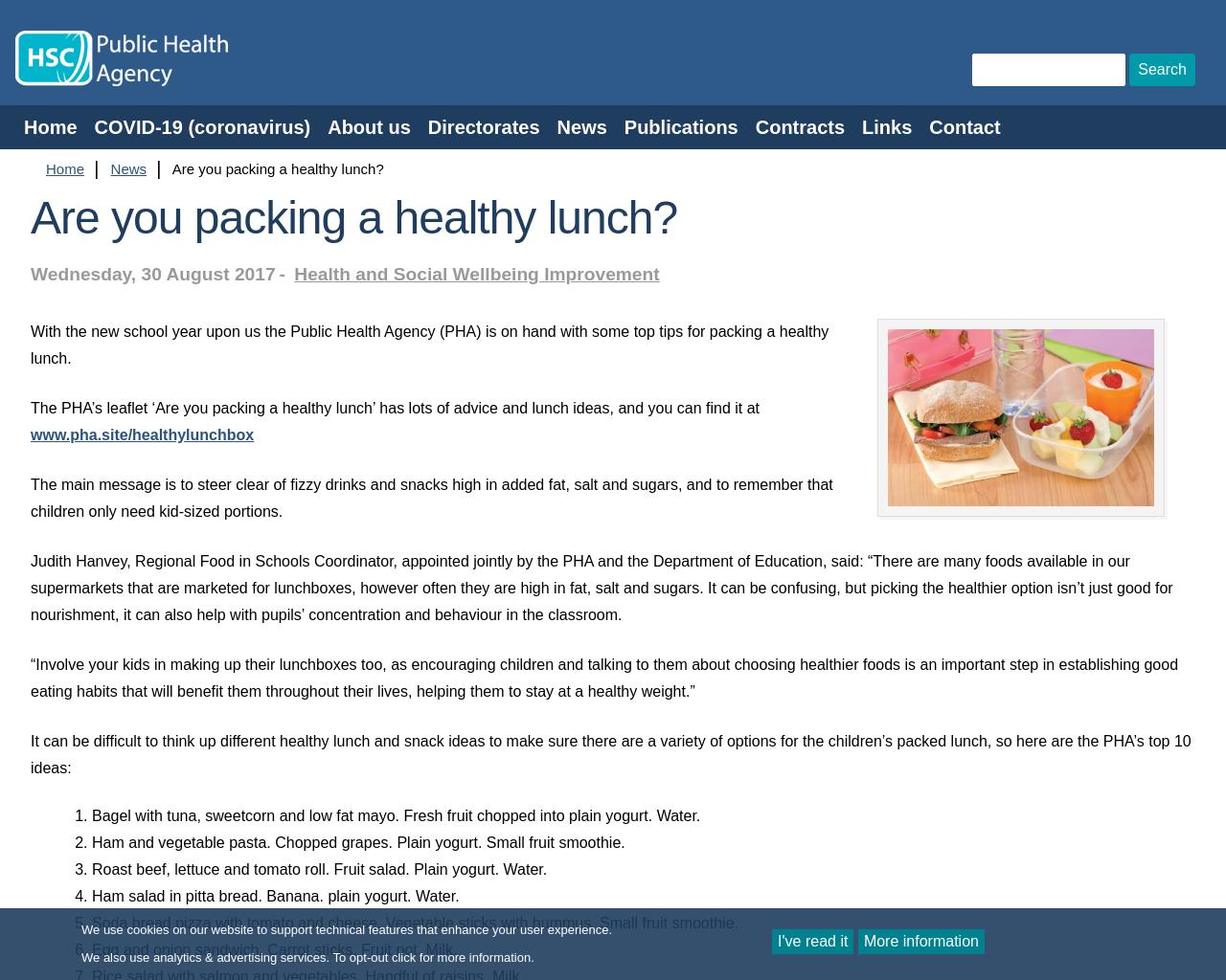 PHA NI  - Ideas for a Healthy Lunchbox