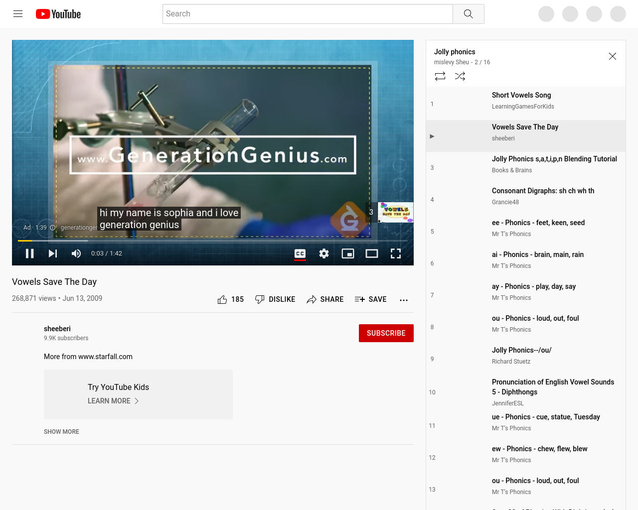 Long vowel sounds song from Jolly Phonics.